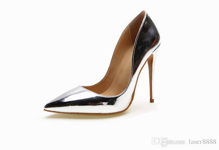 Dress 34 Blade Kim Pointed Pumps Size Toe Metal Heels Genuine Leather Party Big High Shoes Gold 43 Kardashian UzVqSpMG