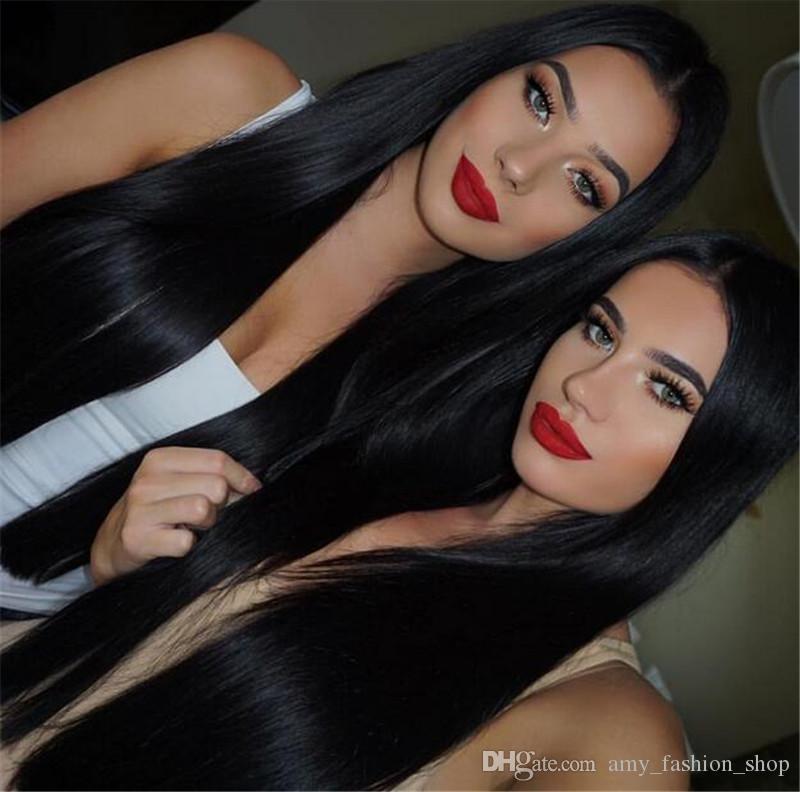 180 Densité Full Lace Wig Avec Bébé Cheveux 10a Brésilienne Full Lace Perruques de Cheveux Humains Pour Les Femmes Noir Partie Hairline
