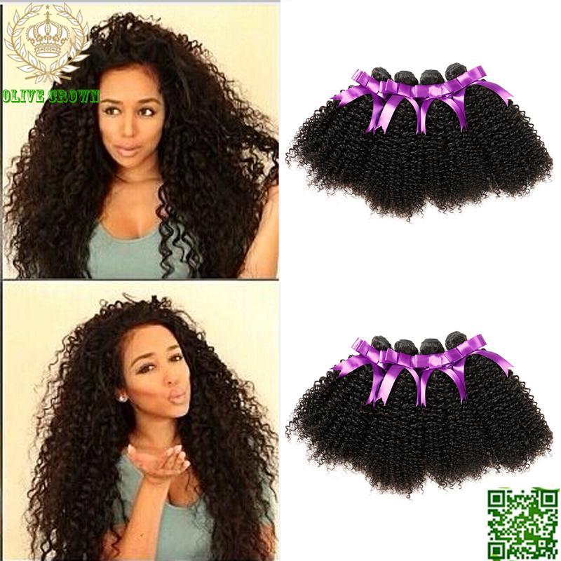 Virgin Brazilian Human Hair Kinky Curly Hair Weaves 4BundlesExtension Soft Remy Hair Weft Top Grade 6A Virgin Hair
