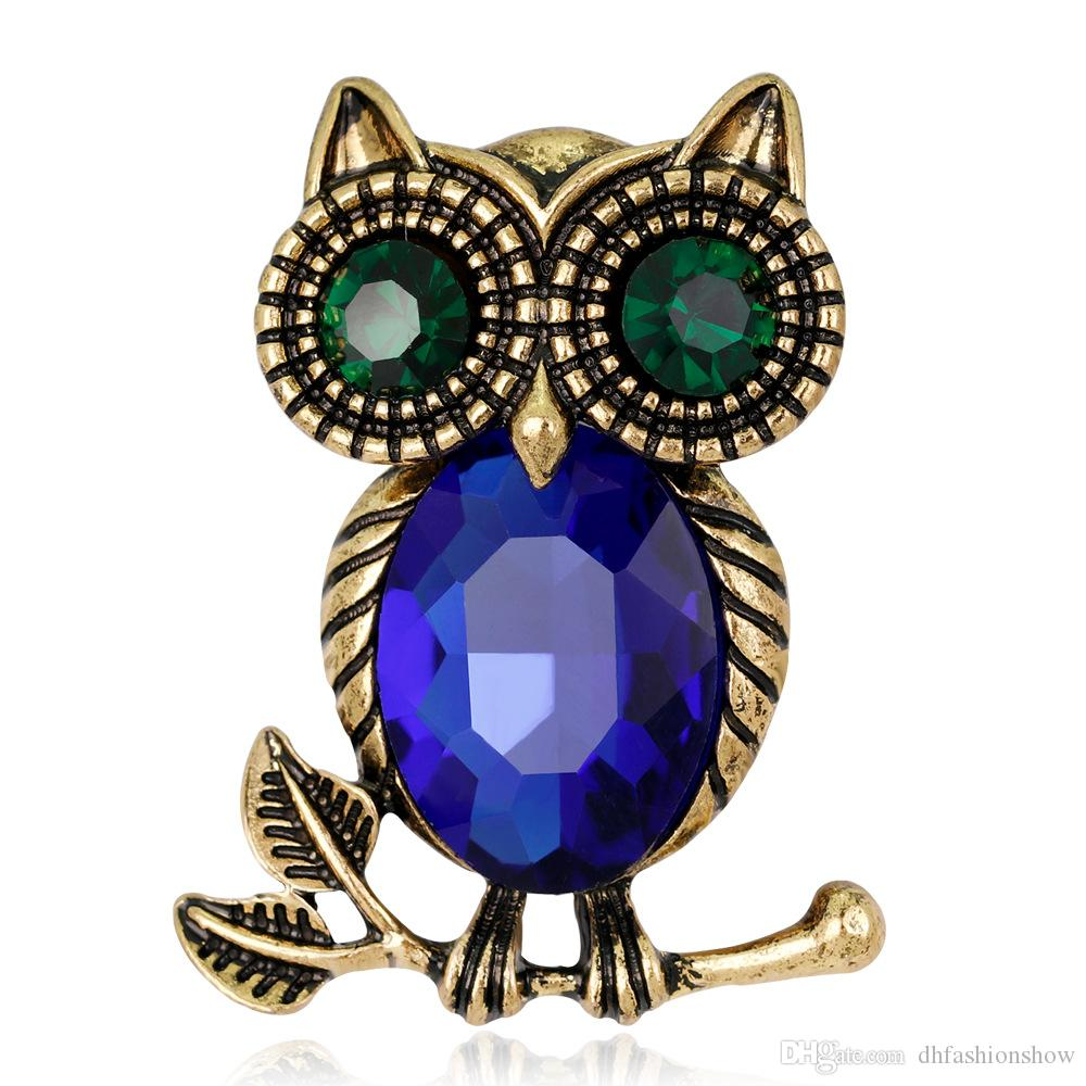 89cf1dffdca 2019 Gorgeous Fashion Crystal Alloy AntiGold Plated Owl Jewelry Collar  Brooch Korean Fashion Accessories Girl Birthday Gift Broche From  Dhfashionshow