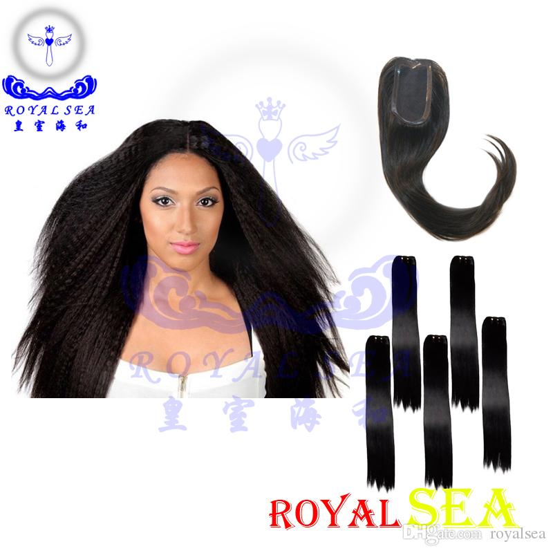 Brazilian Human Hair Extensions Yaki Kinky Straight Hair Bundles 8
