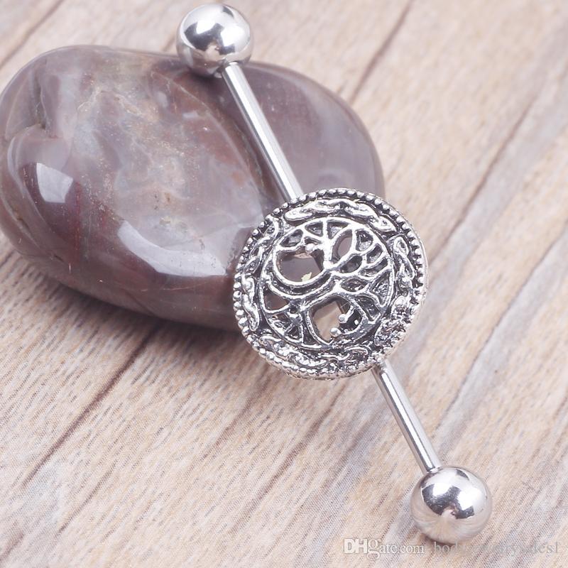 L'albero della vita Logo Piercing industriale del bilanciere del piercing ha messo con i gioielli del corpo dei gioielli dei gioielli dell'orecchino dell'acciaio chirurgico