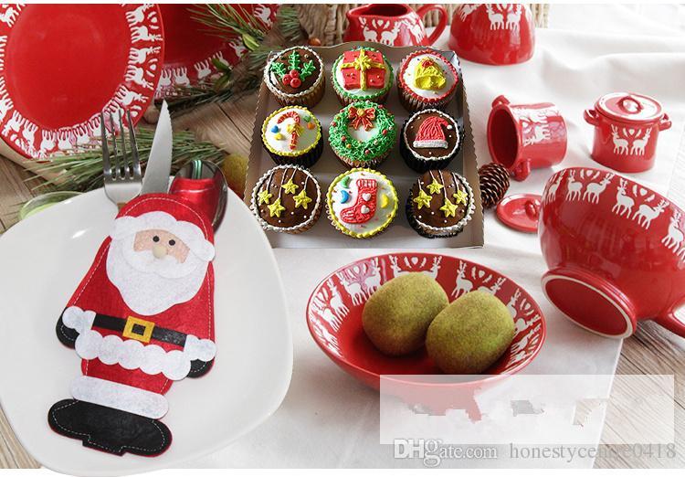 100 шт. / лот новый Санта-Клаус ножи и вилки держатель сумка рождественские украшения сумки Рождество посуда костюм
