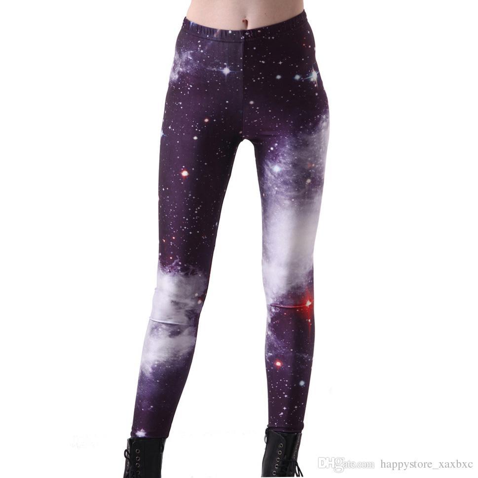 2017 NEW 3001 puple universe galaxy star sky 3D Prints Sexy Girl Pencil Yoga Pants GYM Fitness Workout Polyester Women Leggings Plus Size