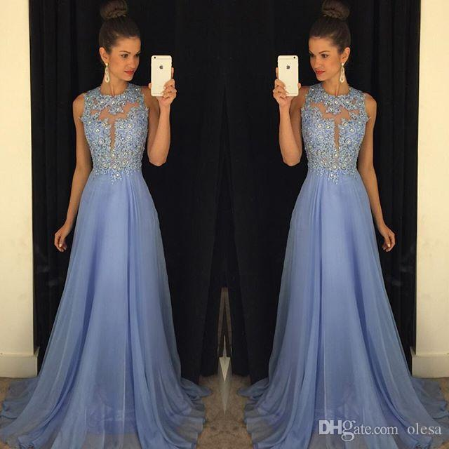 Lavender 2016 Prom Dresses Lace Applique Beads 2015 Formal