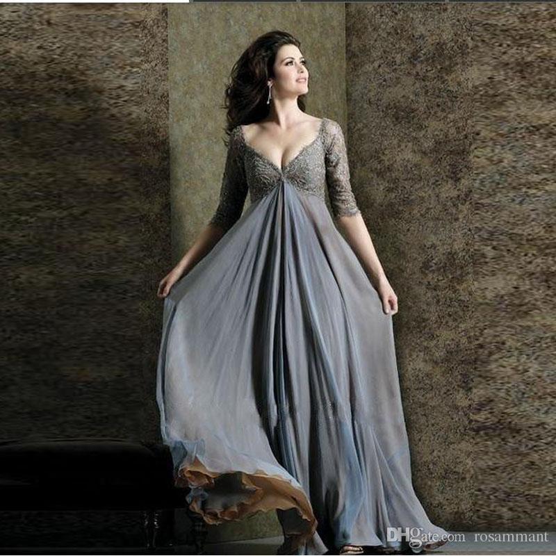Линия дешевые плюс размер вечерние платья V образным вырезом 3/4 рукава шифон платье выпускного вечера кружева пол