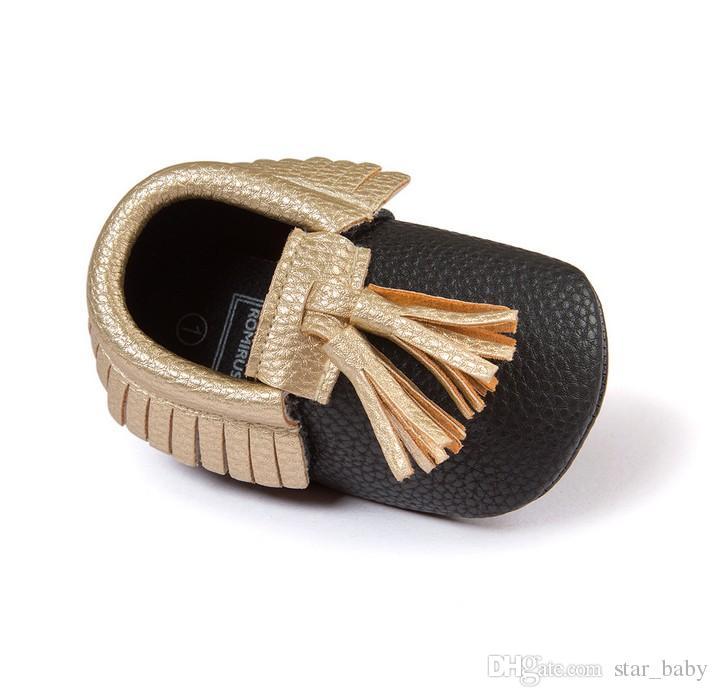 INS Seven Harper 12 Style Baby PU Leather Shoes Moccasins Soft Shoe Open Toe Handmade Sandel Tassel Toddler Prewalker For 0-2T K7494