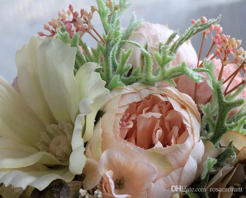 Heißer Verkaufs-Blumen und Blätter Künstliche Hochzeit Bouquets für Bräute Außen Hybrid Hochzeit Bouquets Bouquet De Mariage
