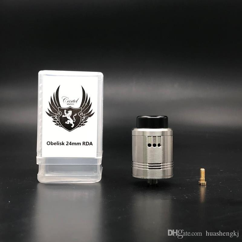 Newest Obelisk RDA Clone Replaceable Dripping Atomizers 24mm Stainless Steel 810 Drip Tip PEEK Insulator Four Post Build Deck DHL