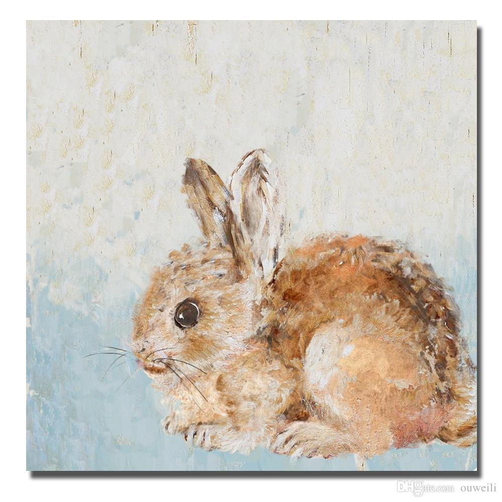 Hand drawing cute pet lovely rabbit picture canvas fabric art work oil painting decorative wall painting