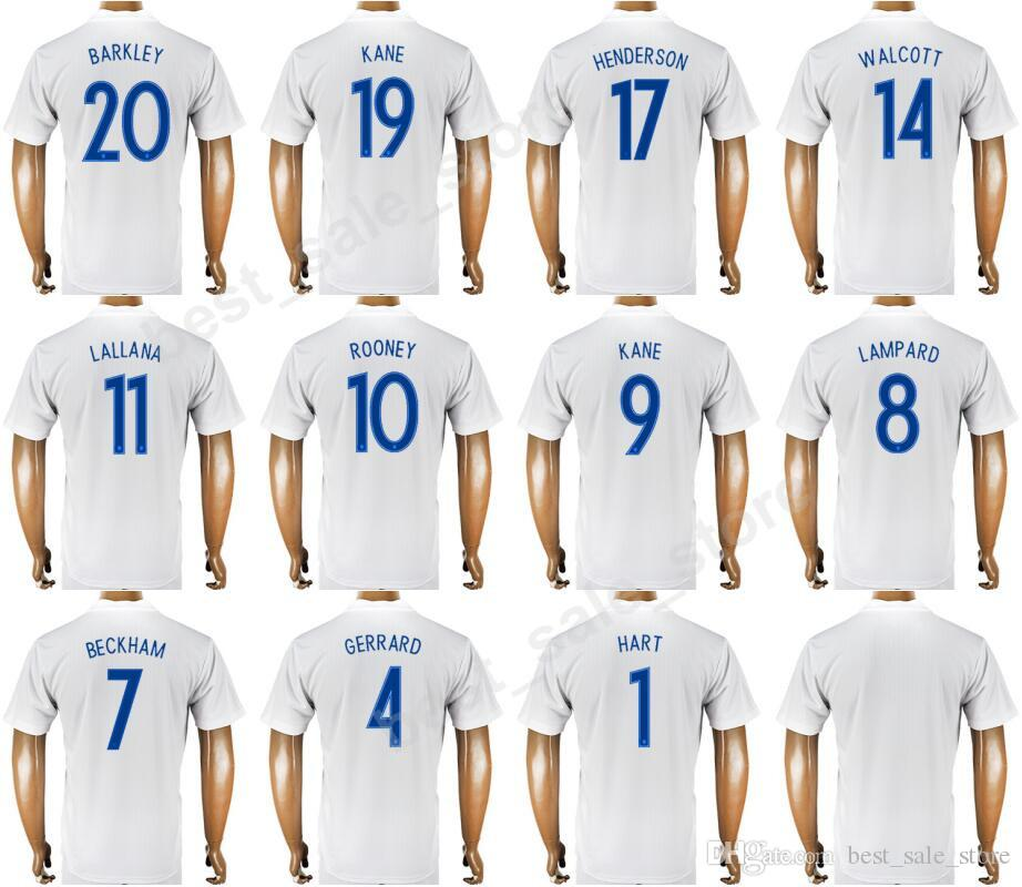 2018 World Cup Soccer England Jerseys 9 KANE UK Football Shirt Kit 10  ROONEY 8 LAMPARD 1 HART 4 GERRARD 11 LALLANA 20 BARKLEY 7 BECKHAM UK 2019  From ... e302520d60af