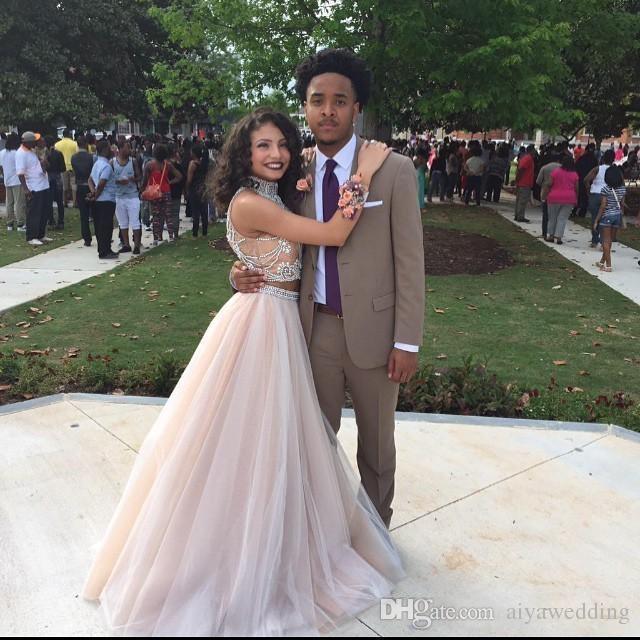 2019 섹시한 두 조각 댄스 파티 드레스 높은 목 페르시 탑 샴페인 얇은 명주 그물 길이 공식 파티 드레스 이브닝 가운