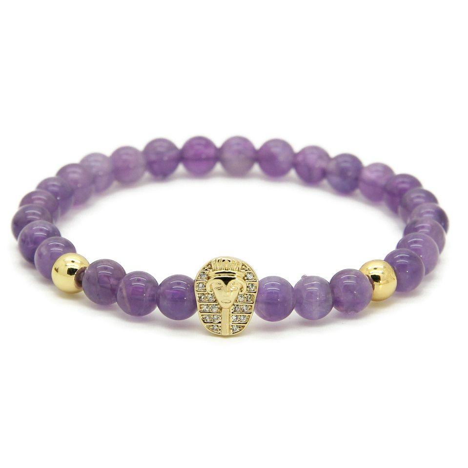 New Arrival Atolyewolf Womens Jewelry Wholesale 6mm Natural Amethyst Stone with Tutankhamun CZ Beads Pharaon Bracelets