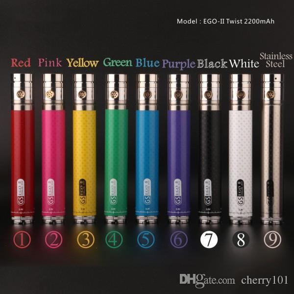GS EGO II Twist 2200mAh battery variable voltage 3.3v-4.8v e cigarette battery for 510 ego thread atomizer