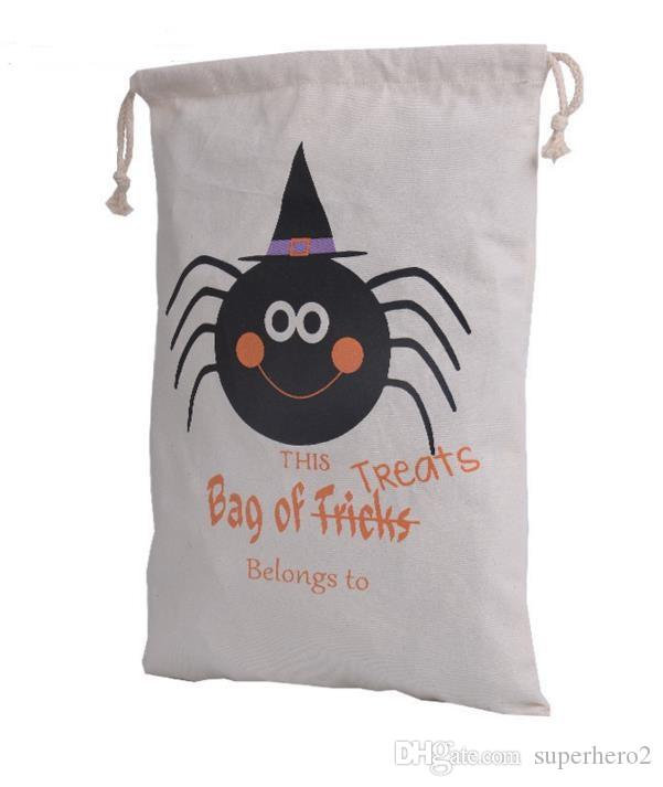 Halloween Cotton Canvas Sack Children favor Candy cloth Gift Bag Pumpkin Spider treat or trick Drawstring Bag Party Cosplay festive supplies