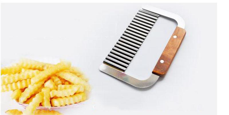 Curly Spiral French Fry Potato Chips Cutter Crinkle Knife stainless steel Fruit Vegetable Cutting Tool wood handle slicer dicer pasta maker