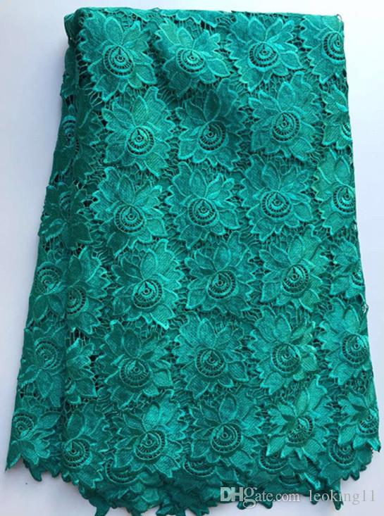 5 Yards/pc Smooth flower pattern water soluble guipure lace,Fashionable royal blue african cord lace fabric for clothing ZQW6-3