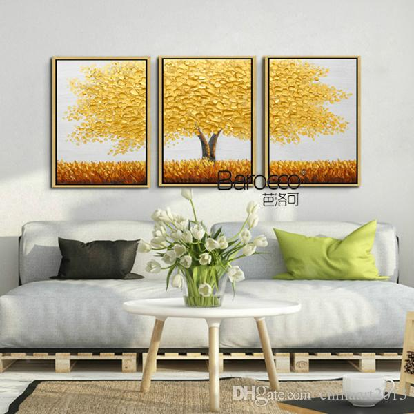 Golden Leaf Baum Gemälde 3 Stücke Handgemalte Landschaft Ölgemälde auf Leinwand Moderne Mode Home Wandkunst Dekorationen