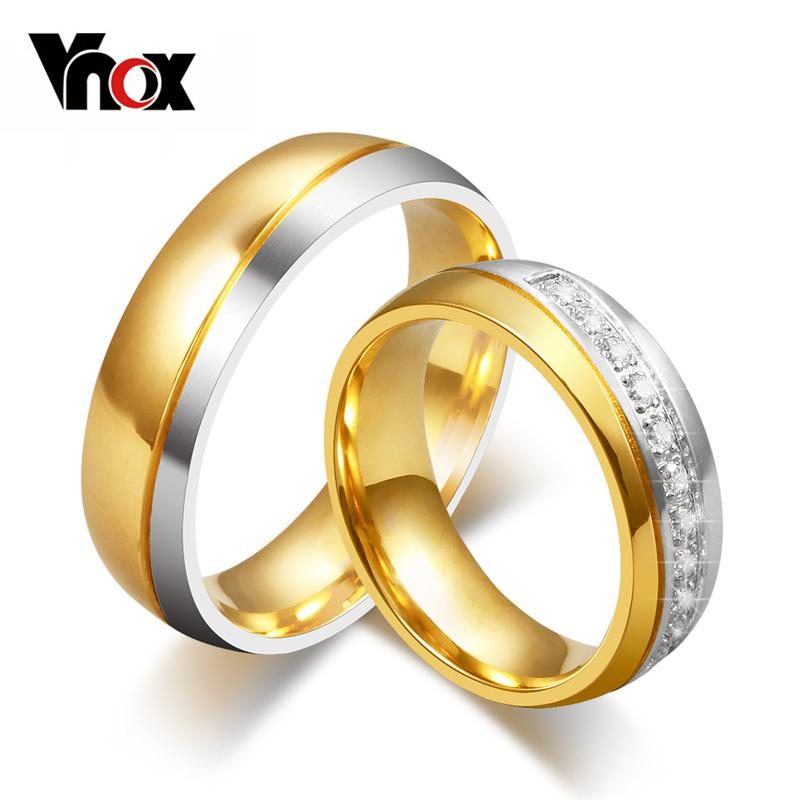 3d022f3e42 Vnox Classic Wedding Bands Ring for Women / Men Gold-color Love Promise  Jewelry Anillos