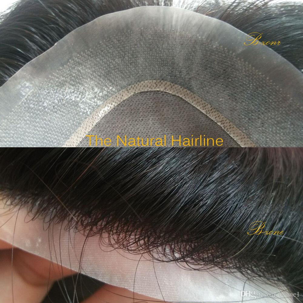 7x9 inch mono lace Men's toupee 100% human hair replacement toupee Wig no shedding no tangle hairpiece natural hairline