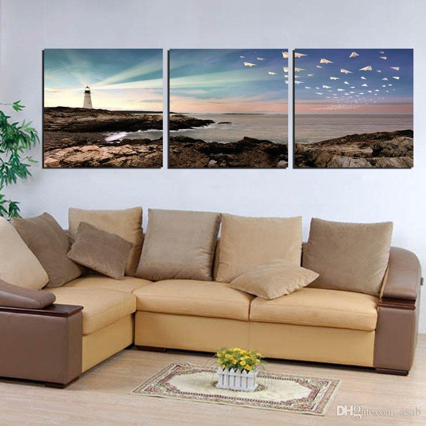 3 Pcs Canvas Prints Abstract tree the Great Wall flower Wooden pier sea reef lighthouse Paper Plane Beijing Forbidden City Cartoon lovers