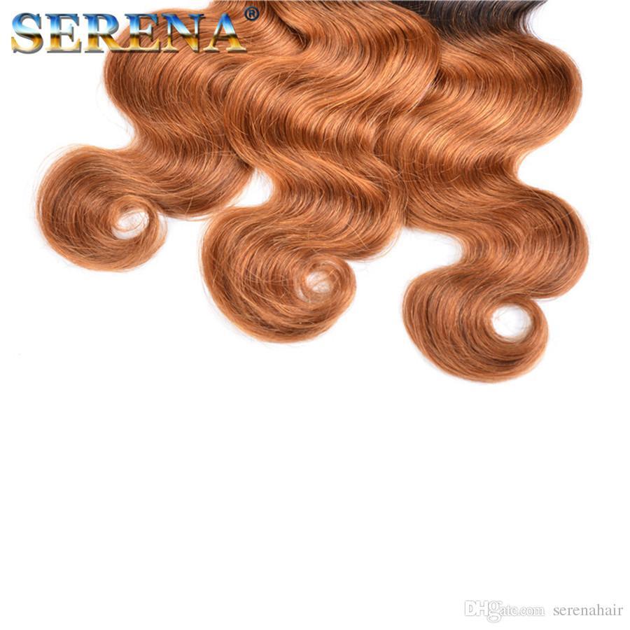 Las extensiones brasileñas del pelo de la onda del cuerpo 2 tonos de Ombre teje T # 1B # 30 El color del pelo humano teje Trama Dip Dye Ombre Envío gratis pelo sin procesar