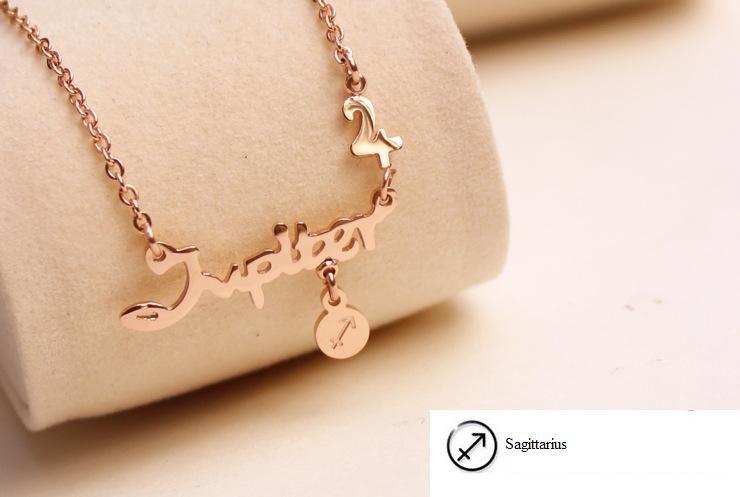 Moda titanio acero joyas 12 signos zodiaces constelaciones letra colgantes collar collar coreano mujeres señoras chokers suéter cadena mezcla