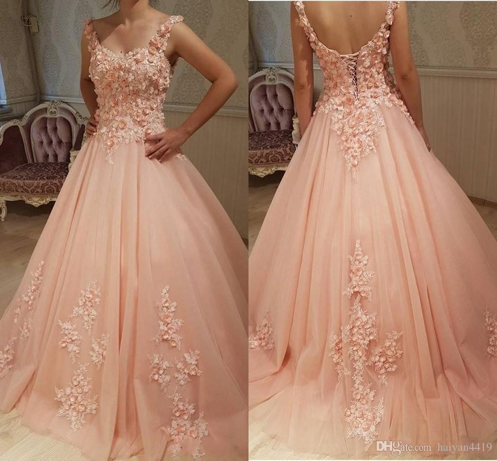 2020 Вечернее платье Sexy Peach Quinceanera бальное платье платья бретельках Сладкие 16 Hand Made Цветы Тюль Пром платье корсет Назад