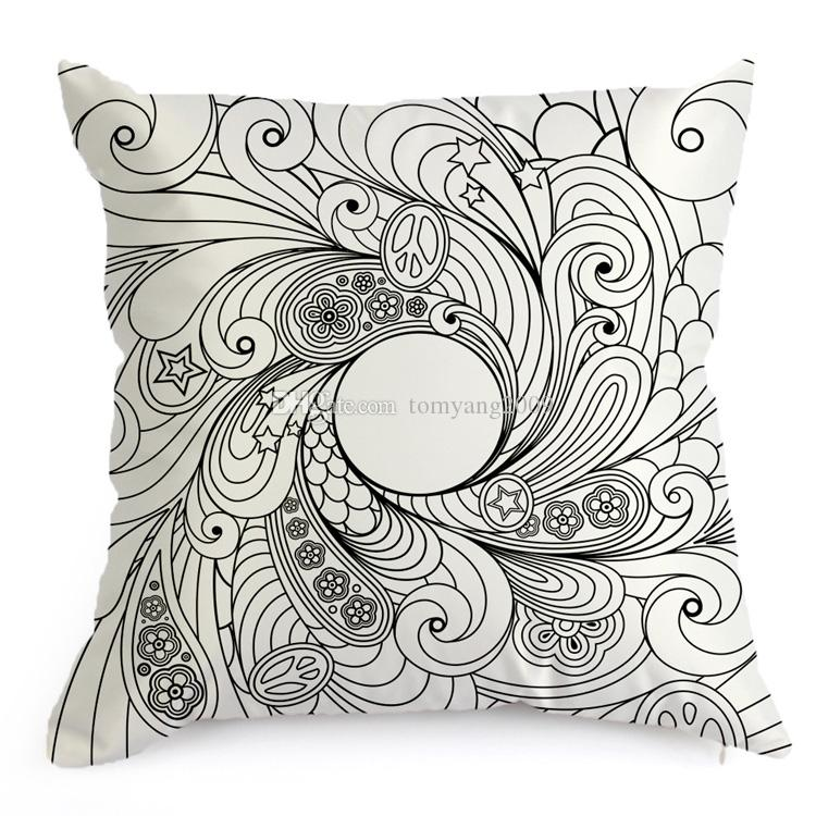 Hand Coloring Vintage Satin Cushion Cover Graffiti Pillow Case Home Decor 45cm*45cm Black Ground Hand Drawing Cushion Cover