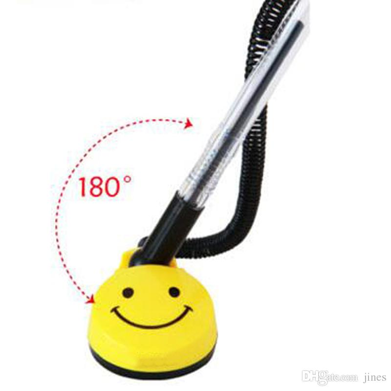 0.5mm Desktop Gel Pens Swivel Stand Smile Face Desk Office Front Desk Counter Pen Pasted Signing Pen Writing Pens