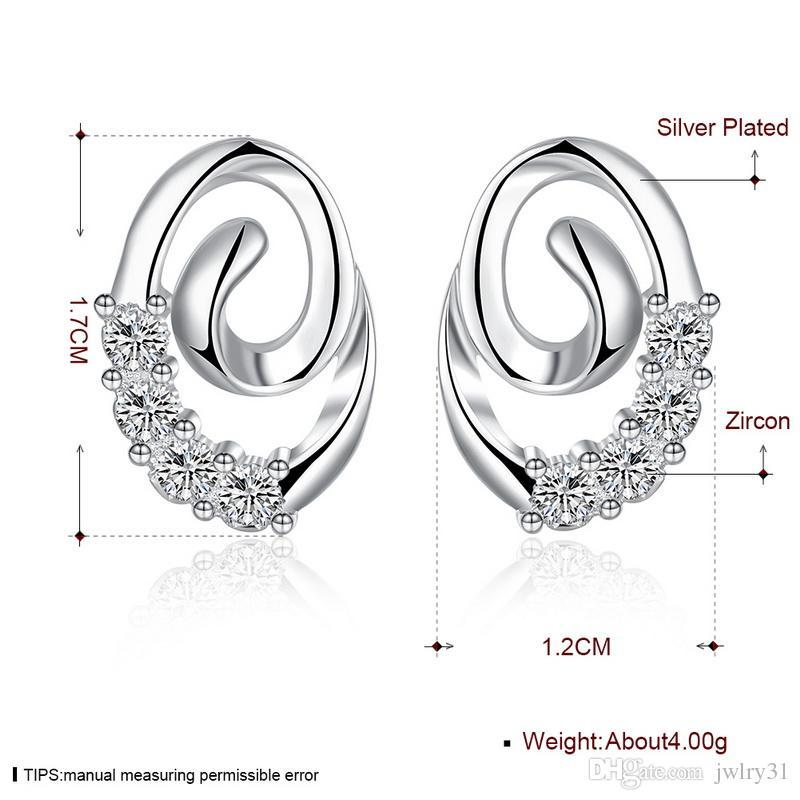 Cute Lady Jewellery Plated Solid 925 Sterling Silver Swarovski Elements Sparkling CZ Diamond Stud Earrings for Women Jewelry