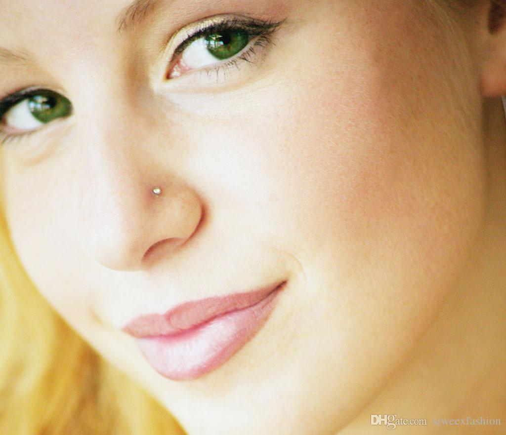 strass 316L nez acier inoxydable chirurgical Lip Bar Stud Body Piercing Anneau