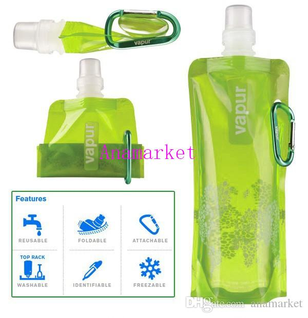 Multi-Colors Foldable Water Bottle Bag 480ML Environmental Protection Collapsible Portable Water Bag Sports Water Bottle for Hiking DHL FREE
