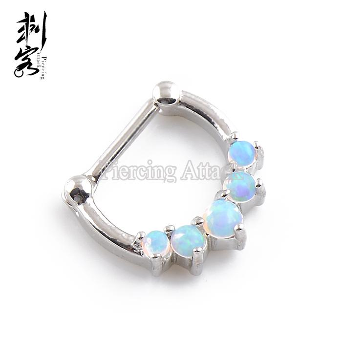 Septum Clicker Nose Ring Nose Hoop 2016 New Arrival Opal Set Fashion Piercing Body Jewelry Wholesale of