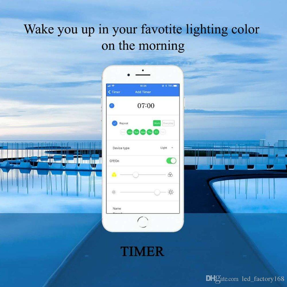 Bluetooth Smart Light Bulb Dimmable 9 Watt Equivalent 60W Light Wake Up LED Lights & Sleeping Night Light Smartphone Controlled Xmas Seas
