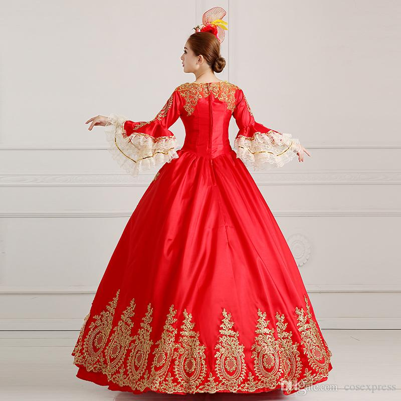 Customized 2016 Hand made Red Victorian costume 18th century Madame de Pompadour Costume