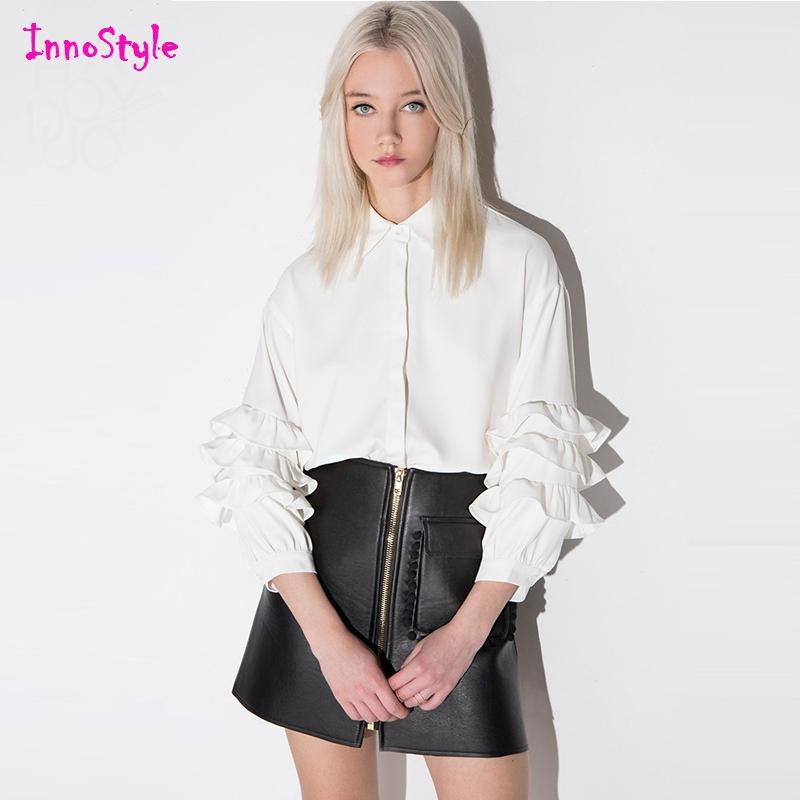 2017 Long Sleeve Ruffle White Blouses For Womens Oversized Work ...