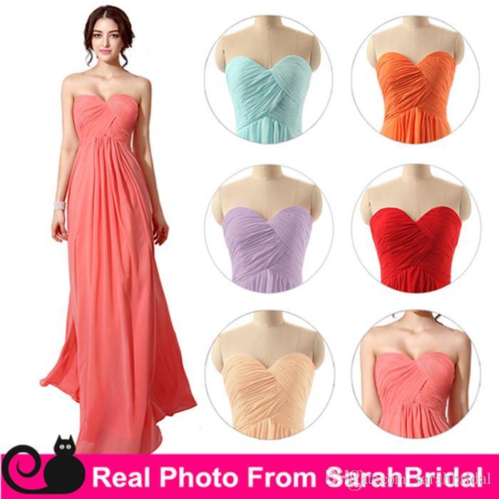 2016 Cheap Long Chiffon Bridesmaid Dresses Under 100 Mint Coral ...