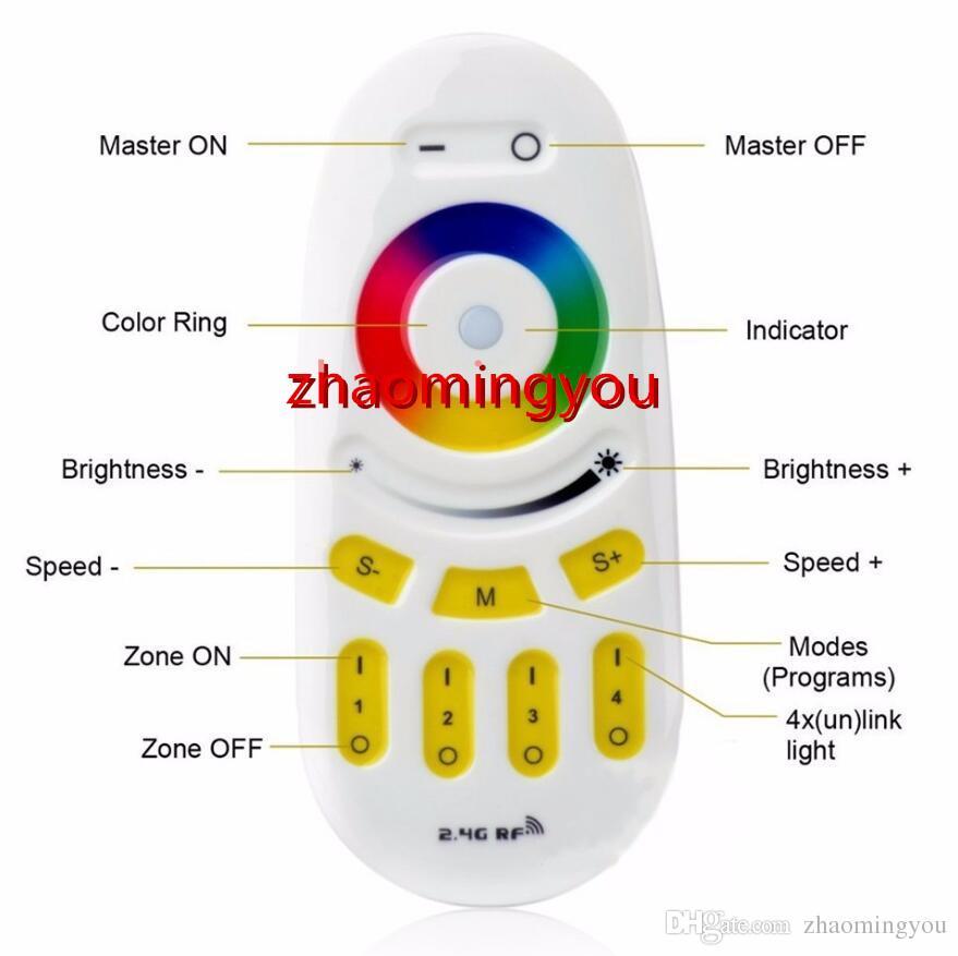 Mi light 2.4G Pantalla táctil de 4 zonas RGB RGBW Controlador Led Inalámbrico Control remoto RF para Mi Light Bombilla Led Led Tira de luz