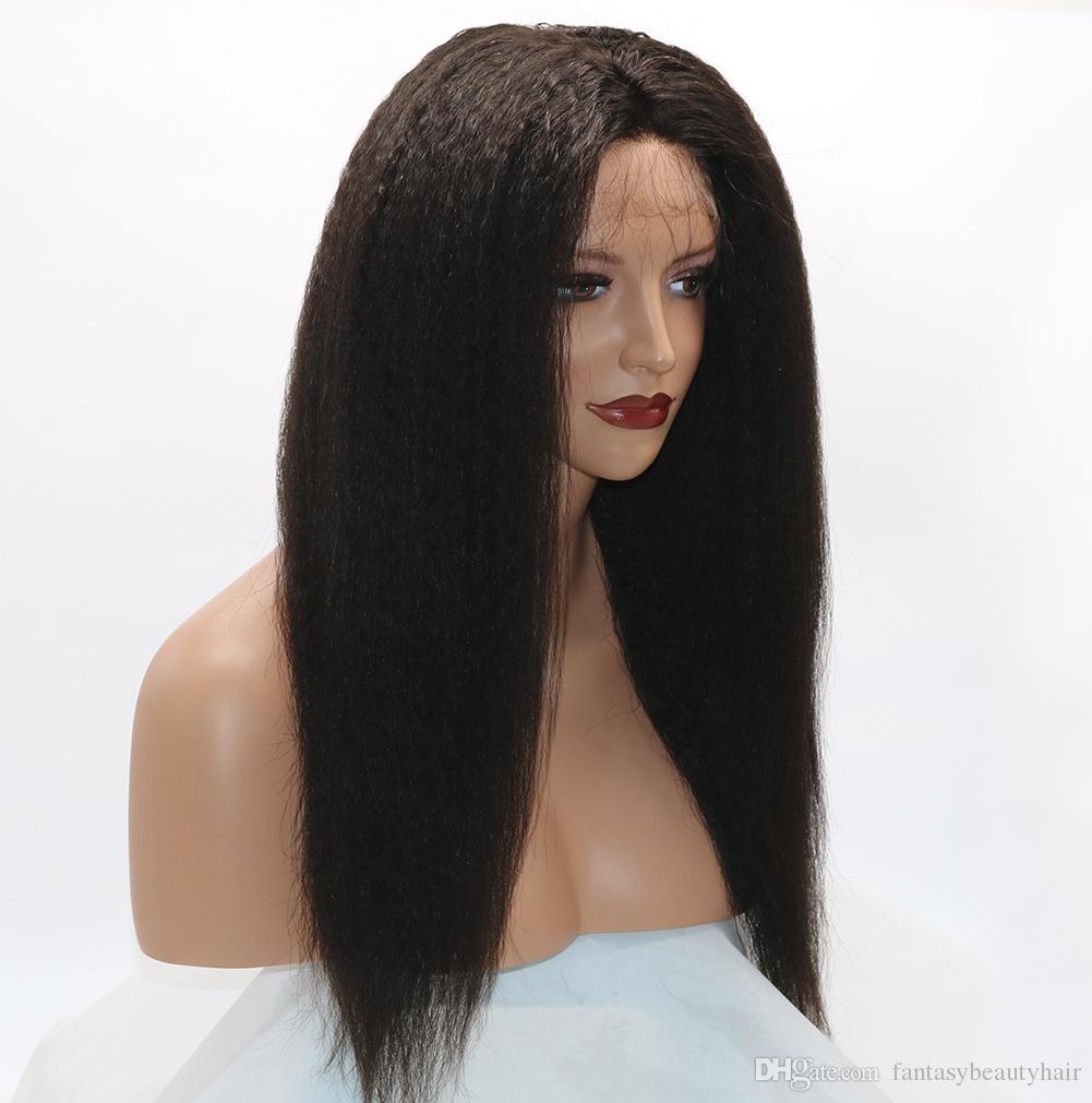 Verworrene gerade 360 Spitze Frontal Perücken 130% Dichte volle Spitze Echthaar Perücken für schwarze Frauen brasilianisches Haar italienische Yaki Lace Front Perücken