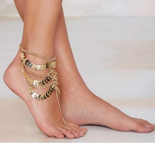 Women Anklets Boho Jewelry Vintage Gold Alloy Coin Tassel Anklets Ankle Bracelets Anklets Charms For Bracelets
