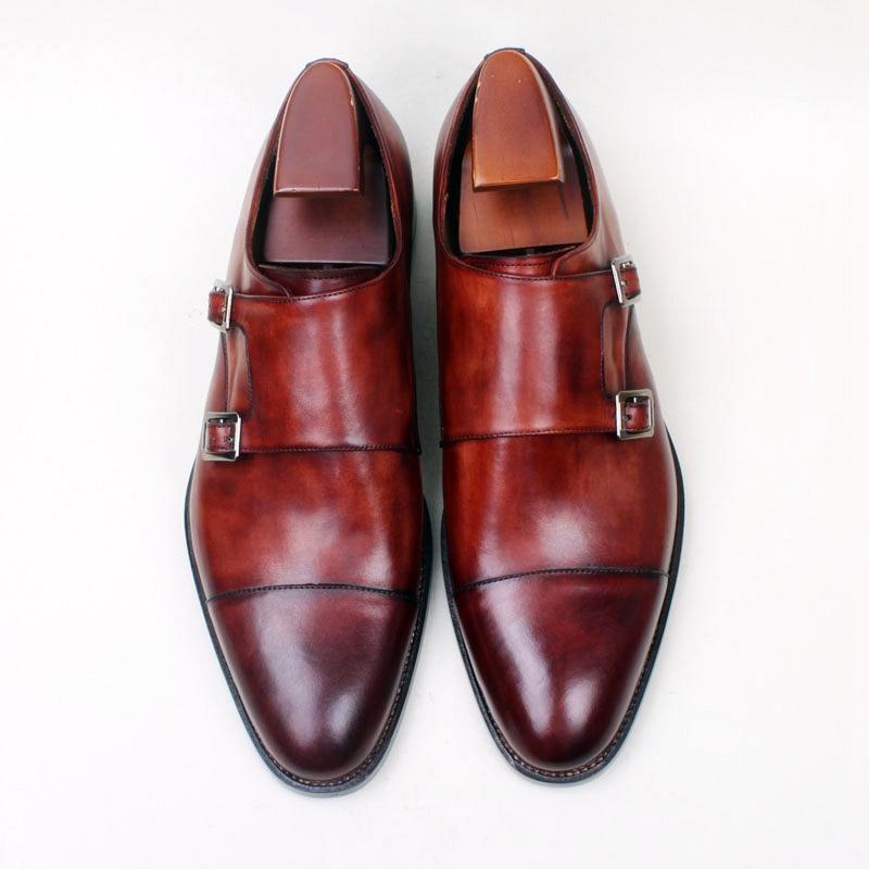 b2c4ddc90f67f Acheter Hommes Chaussures Habillées Chaussures De Monk Chaussures Faites  Main À La Main Véritable Cuir De Veau Bracelet Avec Double Boucle HD 252 De   201.01 ...