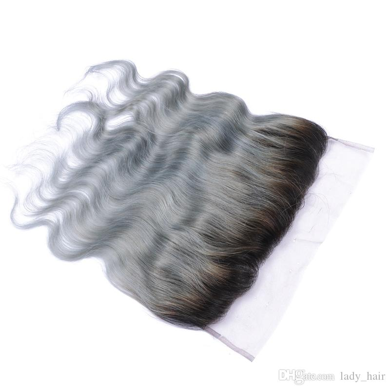 1B/Grey Ombre Virgin Indian Human Hair Body Wave 13x4 Full Lace Frontals Cheap Silver Grey Ombre Lace Frontal Closure Bleached Knots