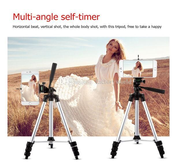 Factory Aluminum Alloy Phone Camera Tripod Stand Monopod + Universal Smartphone Mount + Bluetooth Wireless Remote Control Camera Shutter