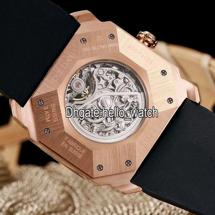 새로운 6 스타일 Octo Finissimo Tourbillon 102719 해골 자동 남성 시계 로즈 골드 고무 스트랩 고품질 신사 새로운 시계