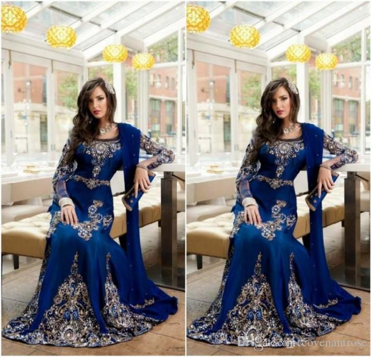 2018 Luxury Dubai Kaftan Blue Prom Dress Crystal Muslim Arabic Evening  Dresses With Applique Lace Abaya Long Formal Party Gowns Monsoon Evening  Dresses Pink ... 10a76a37a2da