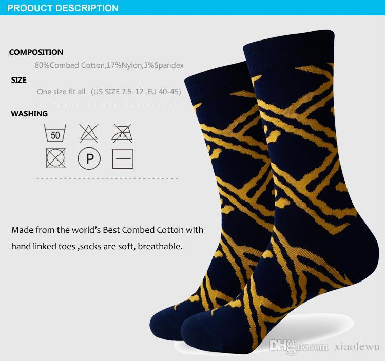 2016 novos homens colorido meias de algodão penteado, meias listradas, envio para livre, tamanho dos EUA 7.5-12 376