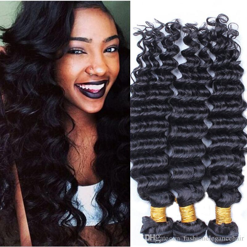7a Remy Brazilian Unprocessed Hair Weaves Deep Wave Curly Hair Weft