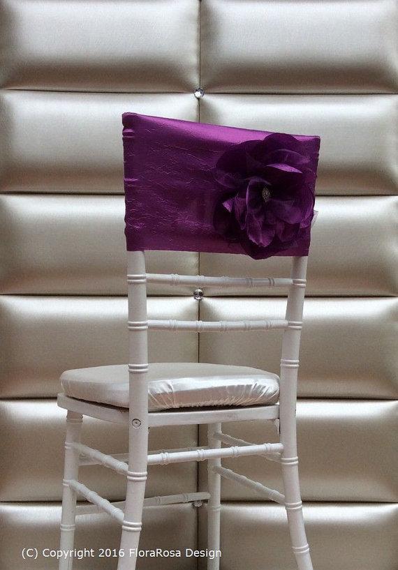 Custom Made 2016 Feminine Purple Taffeta Chair Covers 3D Flower Chair Sashes Romantic Wedding Decorations Wedding Supplies