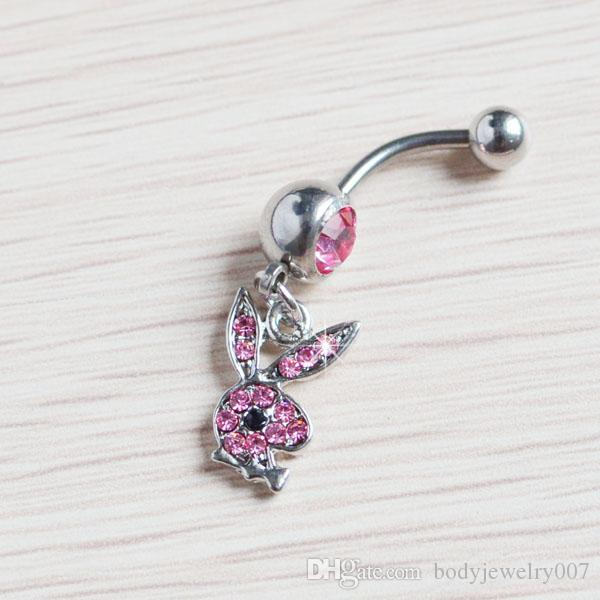 D0354 Belly Button Navel Rings Body Piercing Jewelry Dangle Accessories Fashion Charm Rabbit CZ